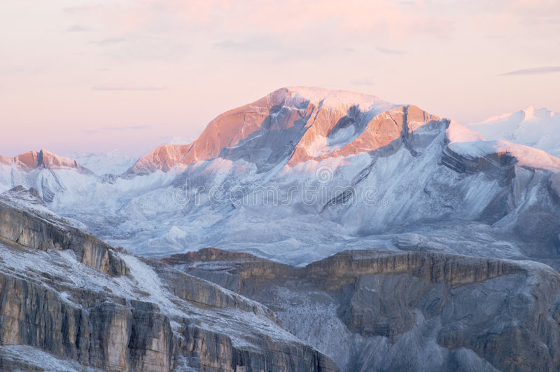 Sunrise in Dolomites royalty free stock images