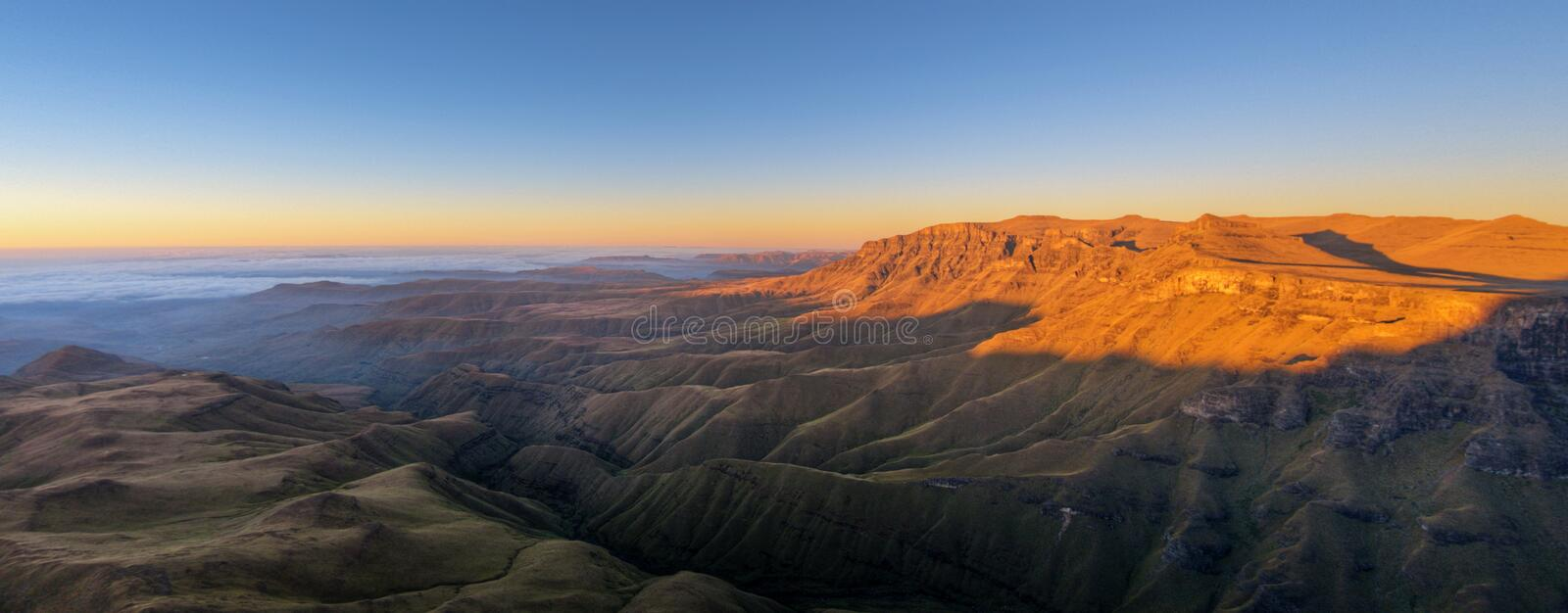 Sunrise Drakensberg, South Africa. Sunrise from the top of the Drakensberg mountains is amazing royalty free stock photography