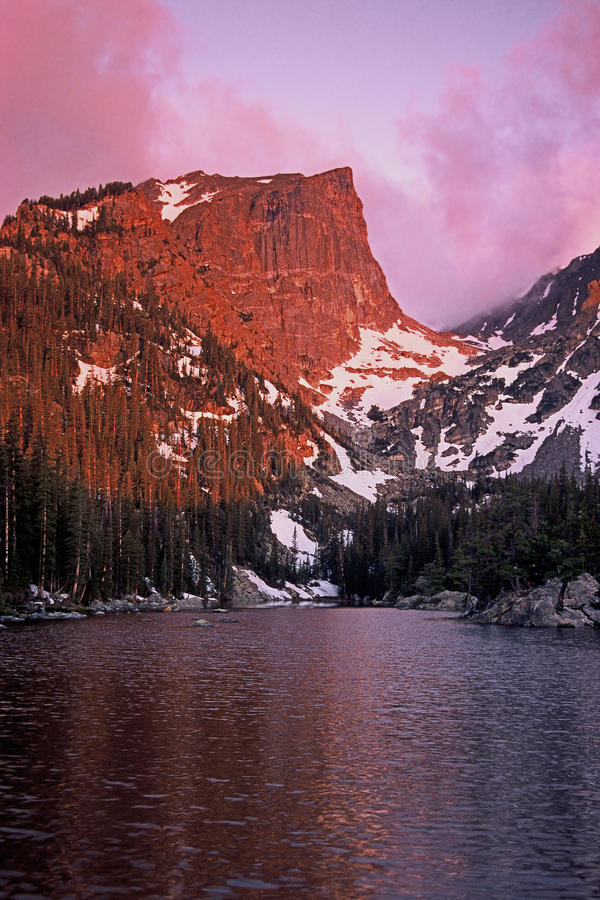 Sunrise, Dream Lake, Colorado stock photography