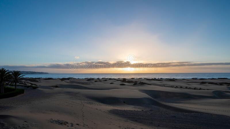 Sunrise in the dunes of Maspalomas, Gran Canaria.  royalty free stock images