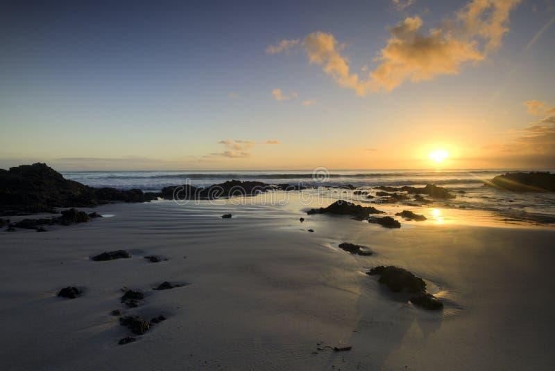 Sunrise on the east coast, Northland, New Zealand. Sunrise on the east coast beach, Northland, New Zealand stock images
