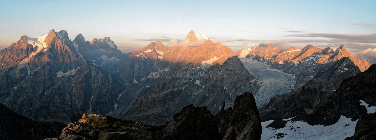 Sunrise on the Ecrins National Park royalty free stock photos
