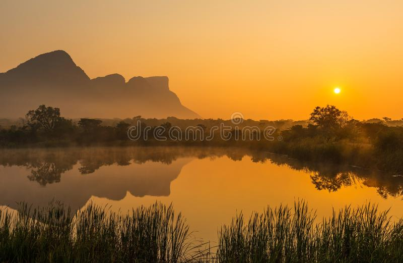 Sunrise in the Entabeni Safari Game Reserve, South Africa stock photo