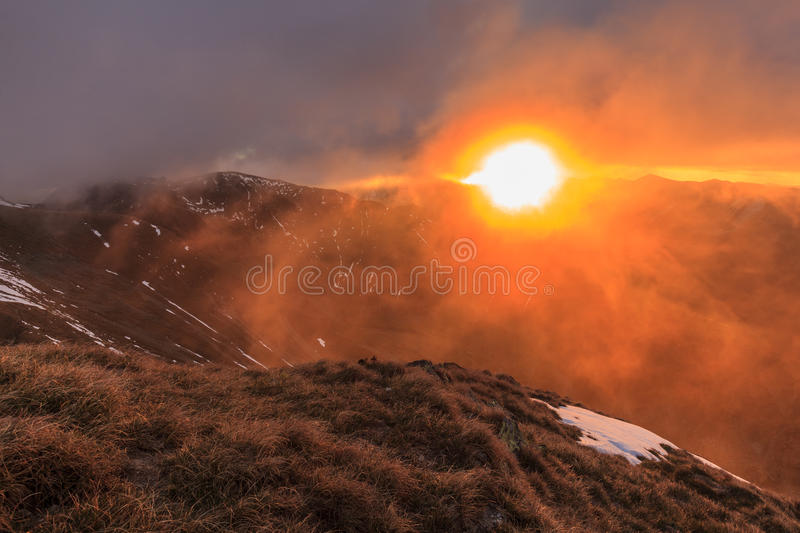 Sunrise in Fagaras Mountains. Southern Carpathians, Romania stock image