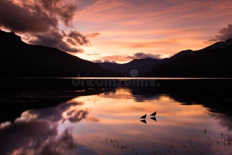 Sunrise on Falkner lake stock images