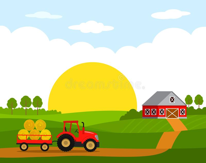 Sunrise on the farm. Rural landscape with hangar and red tractor with trailer and harvest.Flat vector illustration. In cartoon style stock illustration