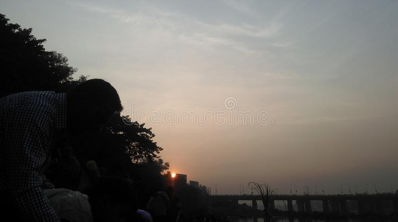 Sunrise. On the festival of chath in Jamshedpur ,India royalty free stock image