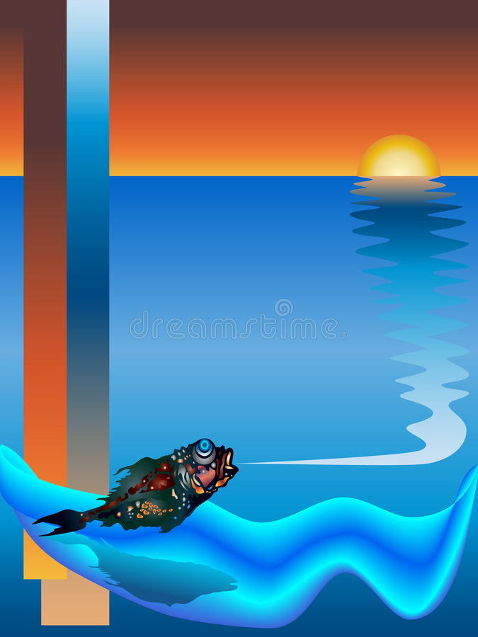 Download Sunrise and a fish stock vector. Image of fish, beautiful - 7385073