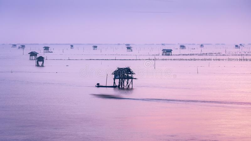 Sunrise at fishery sea of Thai Gulf royalty free stock photo