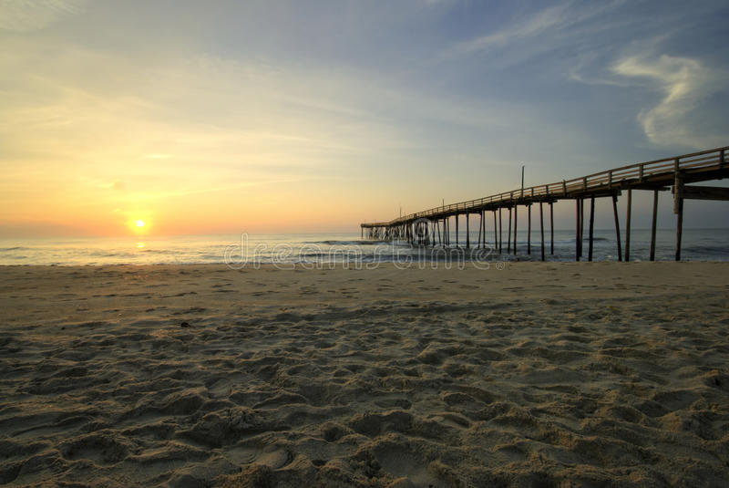 Sunrise at fishing pier, Outer Banks, North Carolina stock images