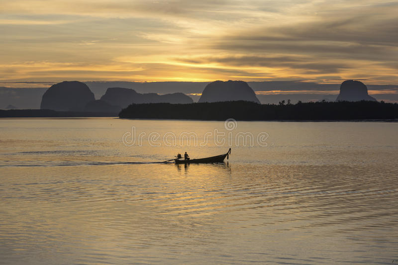 Sunrise At the fishing village royalty free stock images