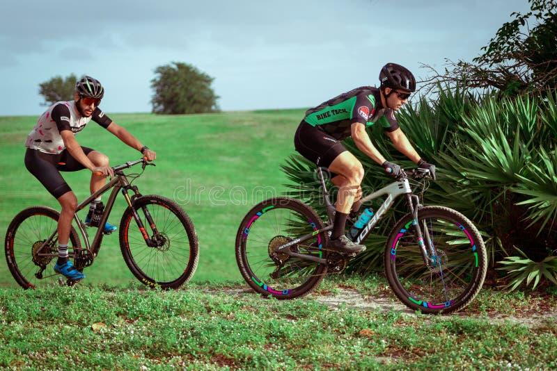 Two Men on mountain bike rides   on the trail. royalty free stock image
