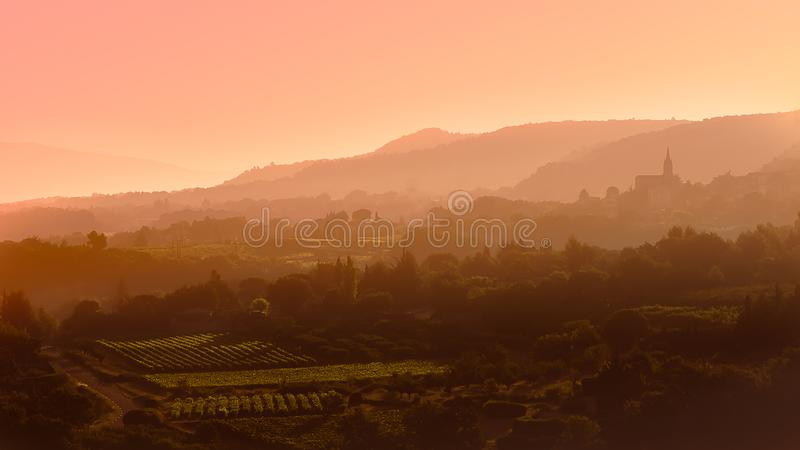 Sunrise and fog on the Luberon royalty free stock images