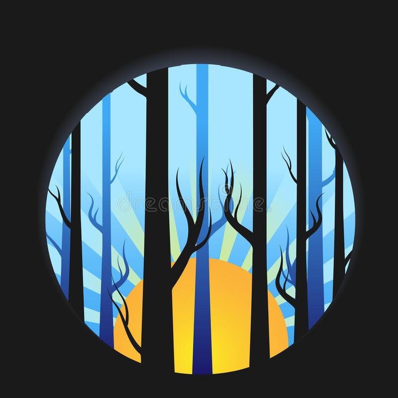 Morning Forrest and trees with sun royalty free illustration