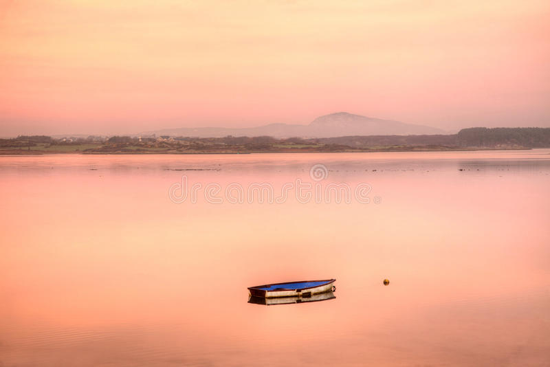Sunrise at Four Mile Bridge. Looking towards Holyhead Mountain National park North wales royalty free stock photography