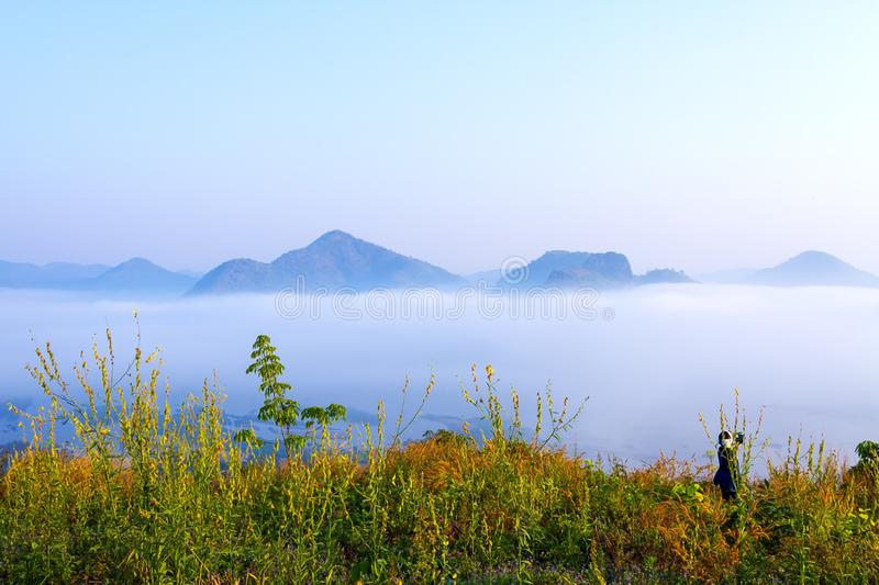 Sunrise fresh mist morning and beautiful with color grass. At viewpoint in countryside Thailand royalty free stock images