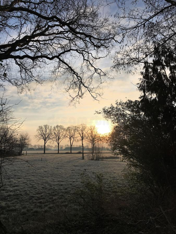 Sunrise on a frosty morning in Holland. Waking up with this sunrise in the countryside on a frosty winter morning in Holland stock image