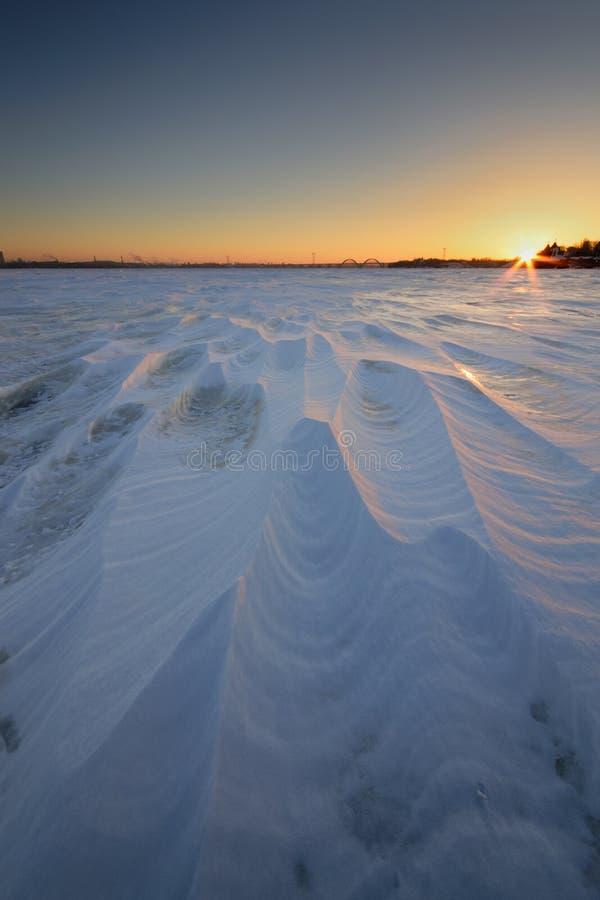 Sunrise on the frozen river. Dnieper. Dniepropetrovsk Ukraine royalty free stock photo