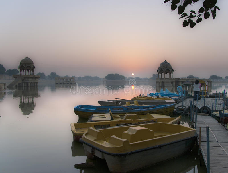 Sunrise at Gadi Sagar lake in Jaisalmer, Rajasthan, India stock photos