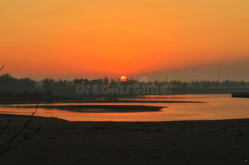 Sunrise at Glagah Beach royalty free stock photo