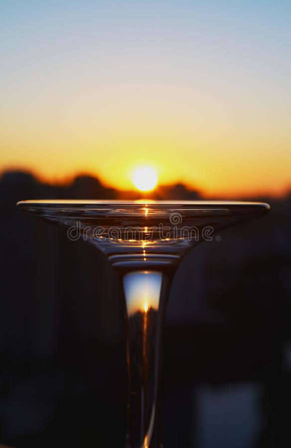 Sunrise on a glass stock photography
