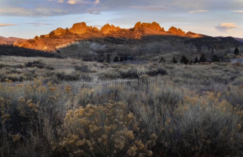 Sunrise glow on the hogbacks of Devils Backbone royalty free stock images