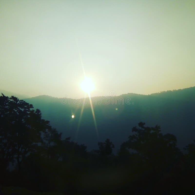 Sunrise from godawori hills in kailali nepal stock image
