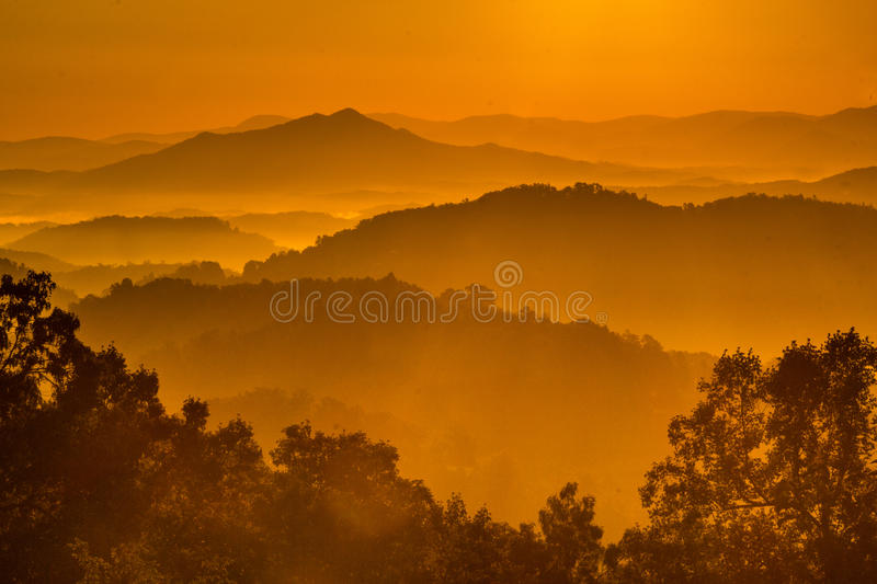 Sunrise in Great Smoky Mountains stock image