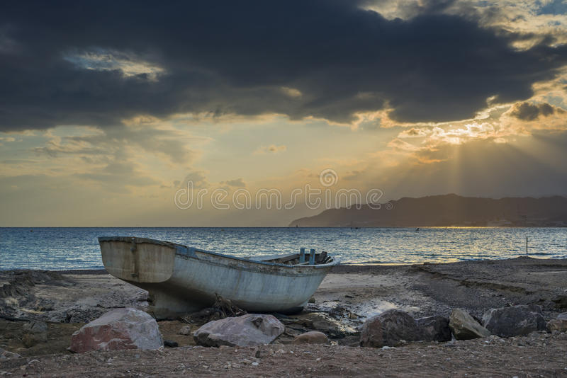 Sunrise at the gulf of Aqaba, Red Sea, Eilat, Israel. The shot was taken during sunset in Eilat - famous resort city of Israel royalty free stock photo