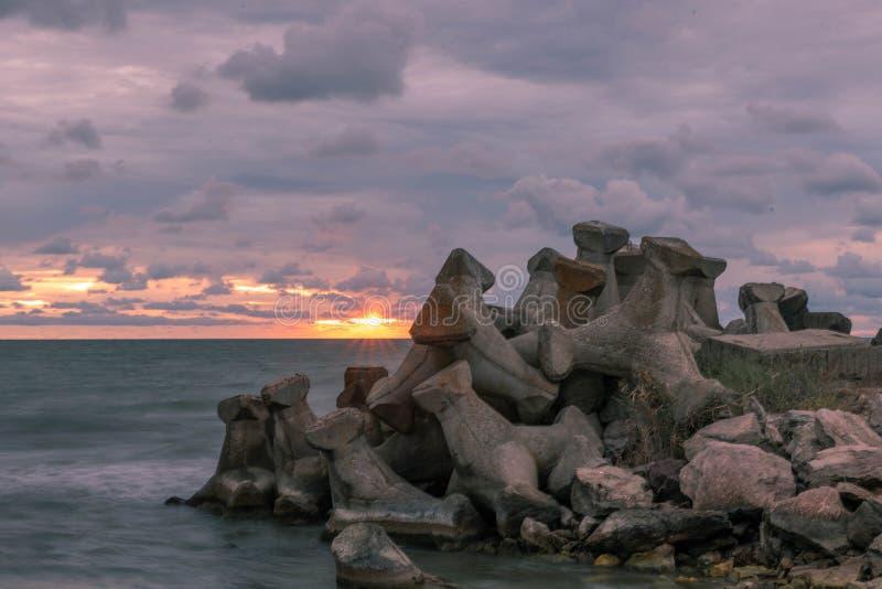 Sunrise in Gura Portitei Black Sea stock photos