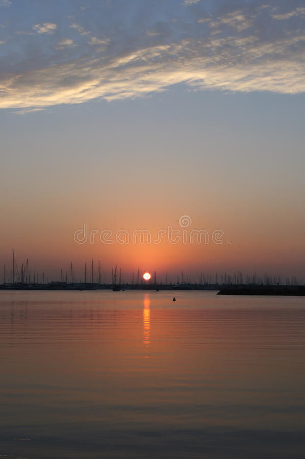 Sunrise in the Harbour. Sunrise red in the Harbour royalty free stock photo