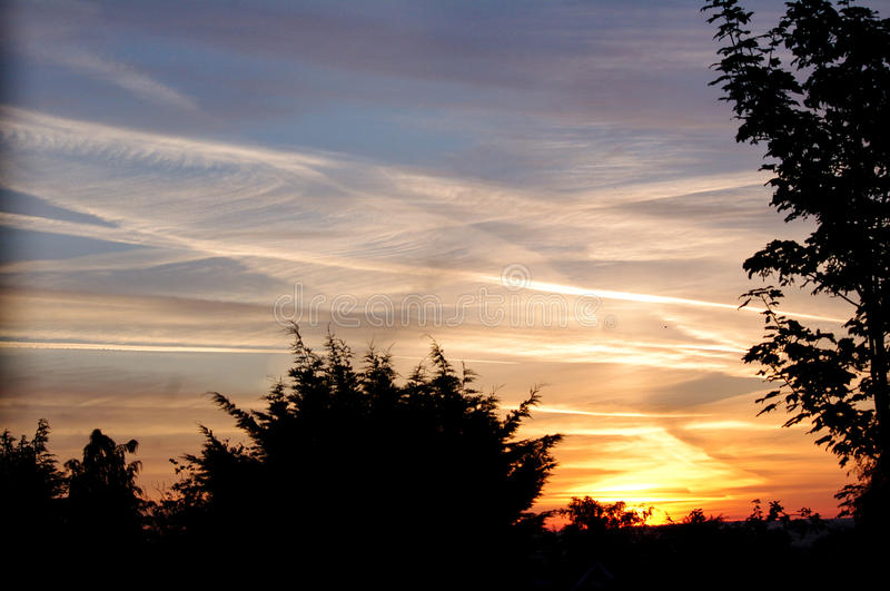 Sunrise, Hedge End, UK. stock images