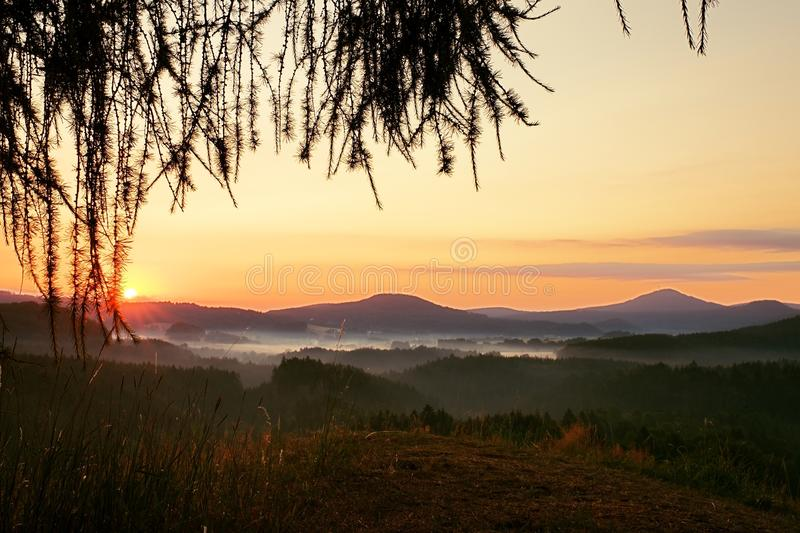 Sunrise in hilly Landscape.Early Morning Meadow. Sunrise Landscape.Early Morning Meadow royalty free stock images