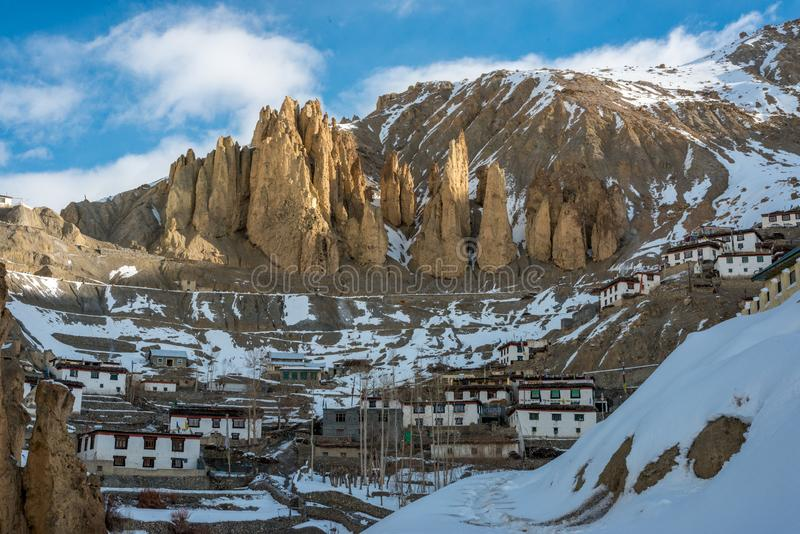 Sunrise in Himalayan Village on Mountain Rock in Spiti Valley royalty free stock photography