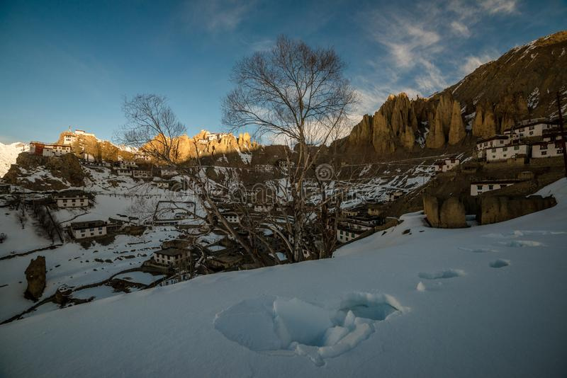 Sunrise in Himalayan Village in Mountain valley during sunrise. Natural Winter landscape royalty free stock image