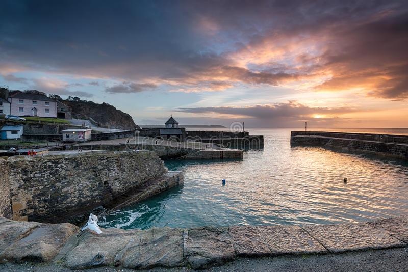 Sunrise at historic Charlestown. Harbour on the Cornwall coast near St Austell royalty free stock photography