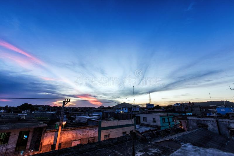 Sunrise in Holguin. An Atmospheric Sunrise in Holguin, Cuba. The new day is about to start royalty free stock photo