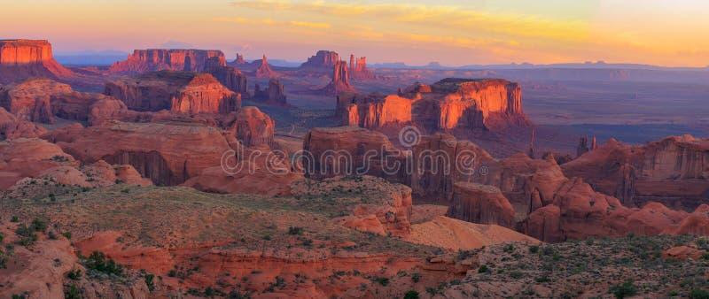 Sunrise at Hunts Mesa viewpoint. View from Hunts Mesa, Monument Valley, Arizona stock photos