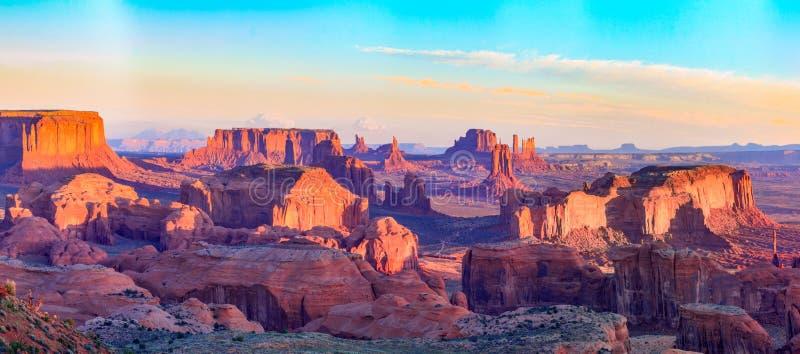 Sunrise at Hunts Mesa viewpoint. View from Hunts Mesa, Monument Valley, Arizona royalty free stock photo