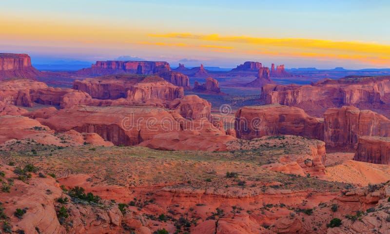 Sunrise at Hunts Mesa viewpoint. View from Hunts Mesa, Monument Valley, Arizona stock photography