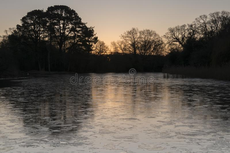 Download Sunrise On An Icy Morning At The Ornamental Pond, Southampton Common Stock Photo - Image of ornamental, common: 109273306