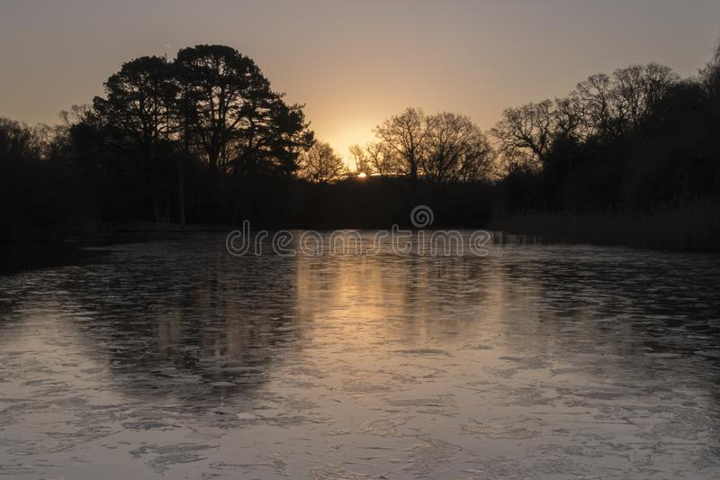 Download Sunrise On An Icy Morning At The Ornamental Pond, Southampton Common Stock Photo - Image of morning, common: 109273360