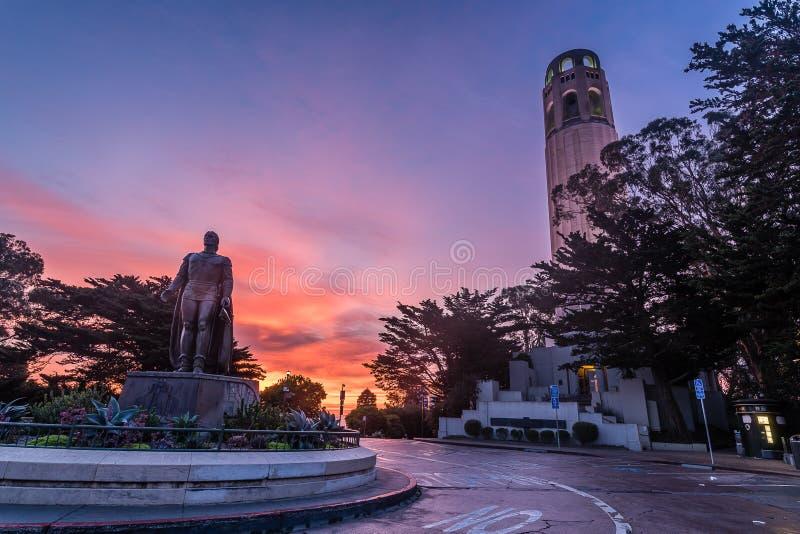 San Francisco`s Coit Tower at dawn royalty free stock photos