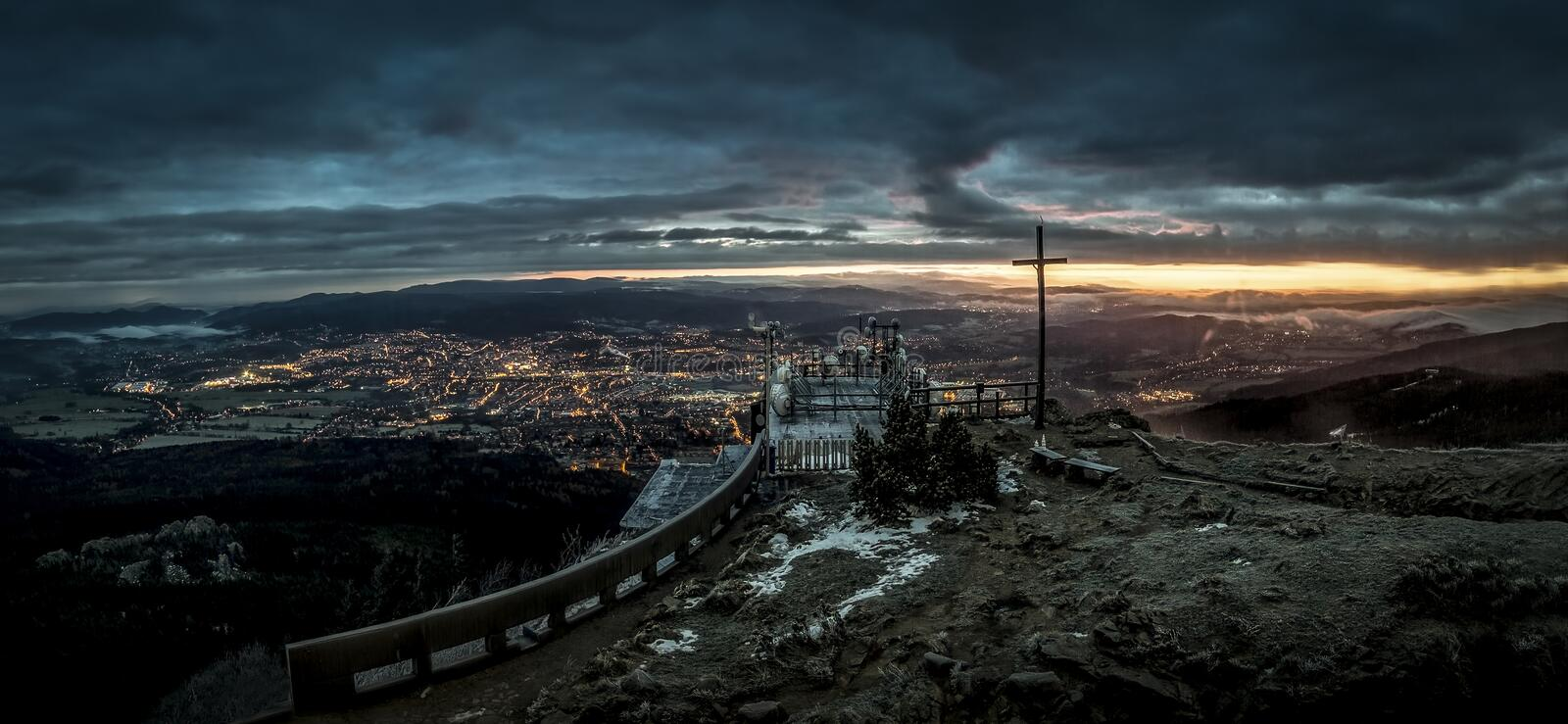 Sunrise and Inversion at Jested mountain close town Liberec, Czech republic, snow and winter and view of funicular. The best photo stock photography