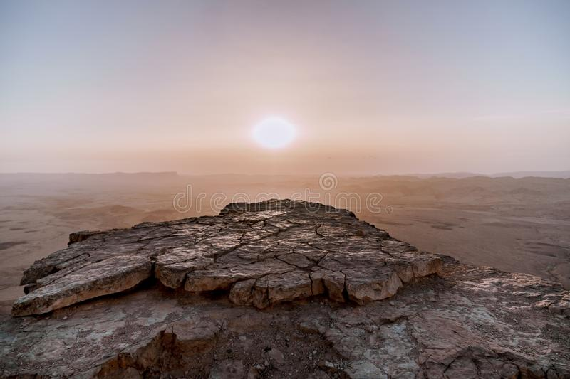 Sunrise in Israel dry negev desert. Amazing view on mountaines, rocks and sky. National park makhtesh ramon. With beautiful landscapes. Tourism and tourist stock photos
