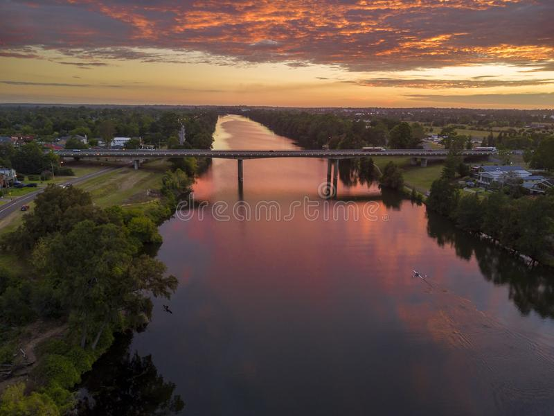 Sunrise over the Nepean River stock images