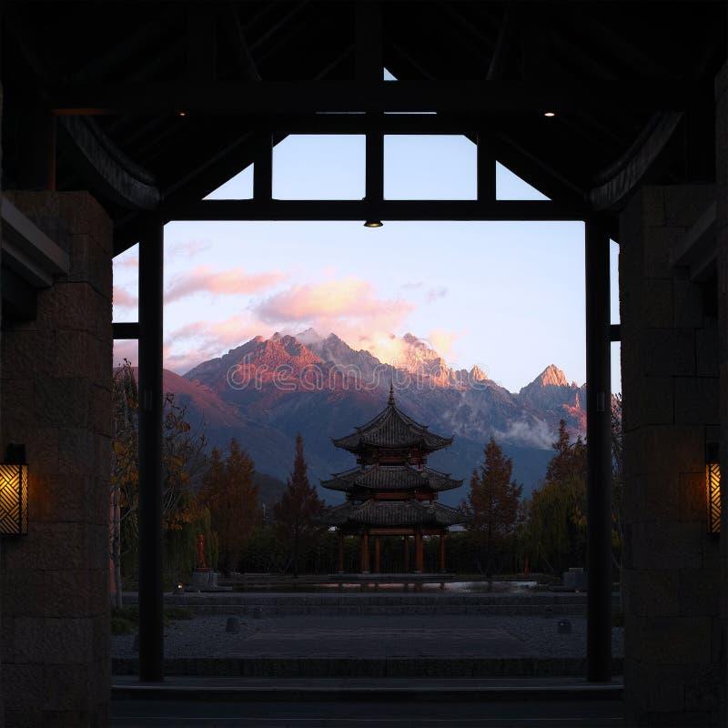 Sunrise at Jade Dragon Mountain stock photo