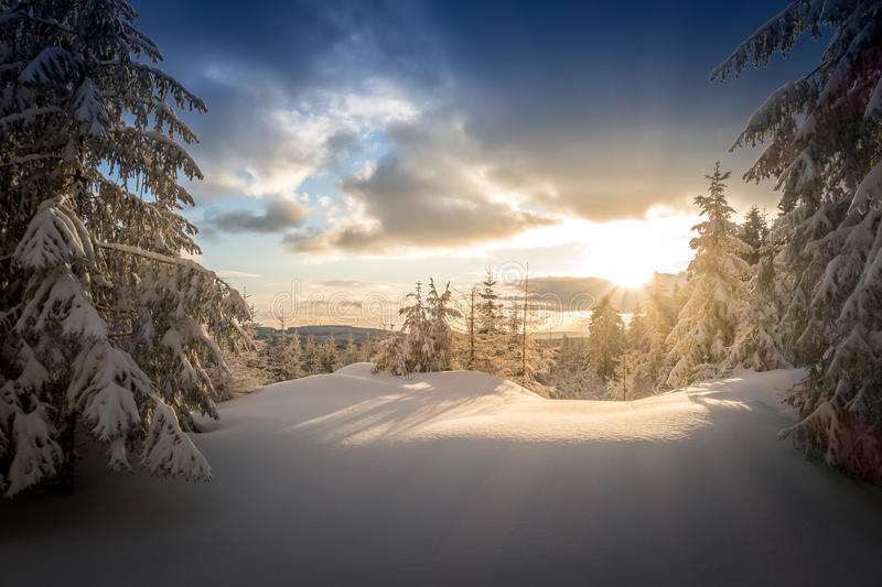 Sunrise at the Jested mountain. Czech republic stock photography
