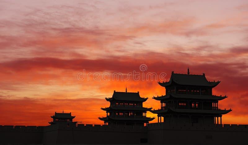 Sunrise of the Jiayuguan Pass Tower royalty free stock photos