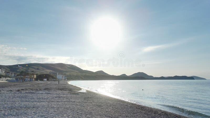 Sunrise in koktebel black sea stock photos